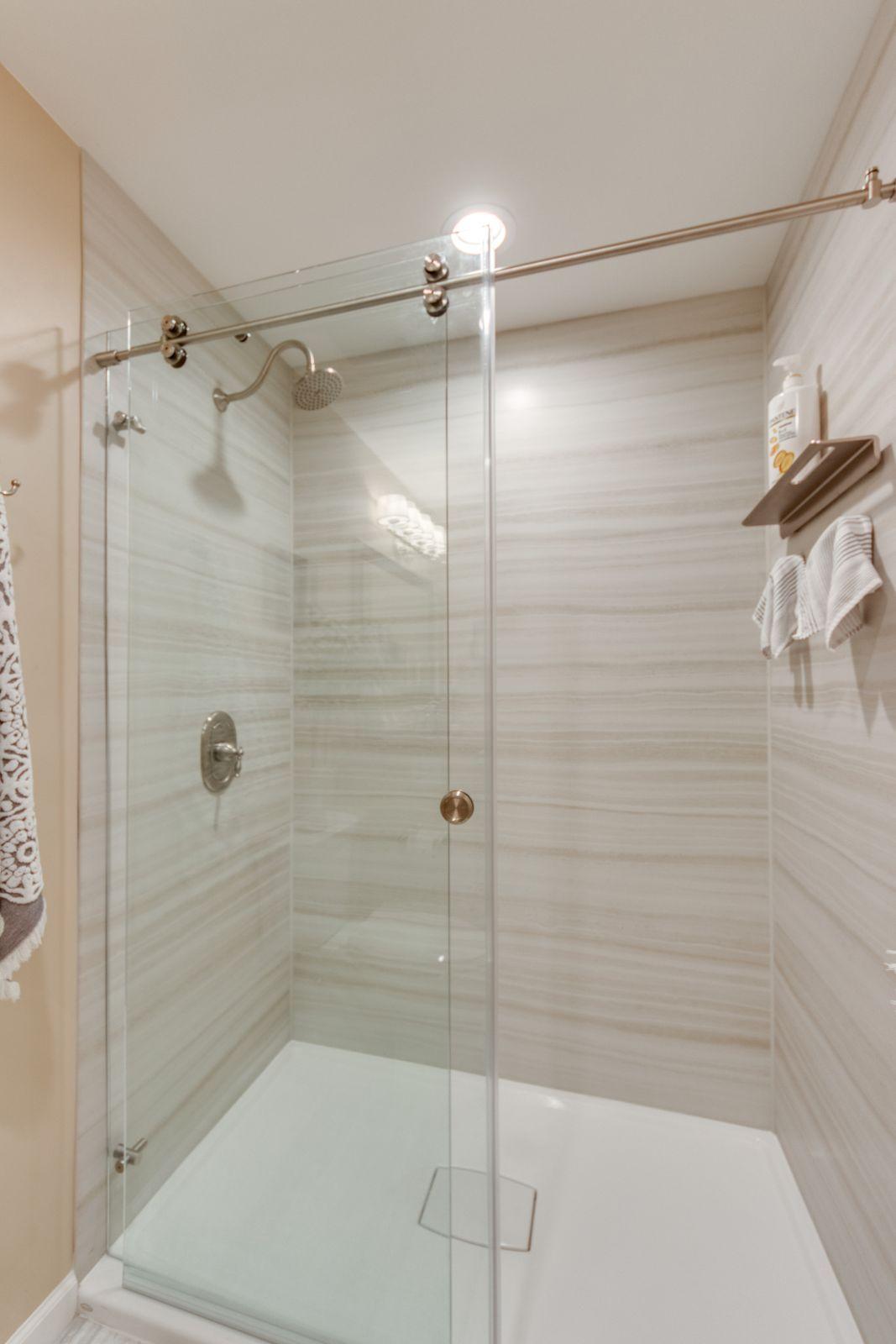 Custom Renovations Master Shower Sliding Glass Door Shower