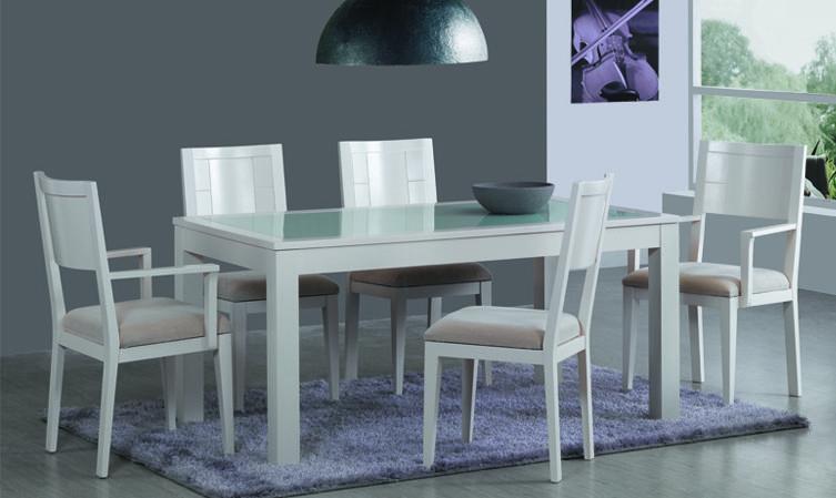 Comedor blanco lacado modelo efi06 color blanco hueso o for Comedor blanco y negro
