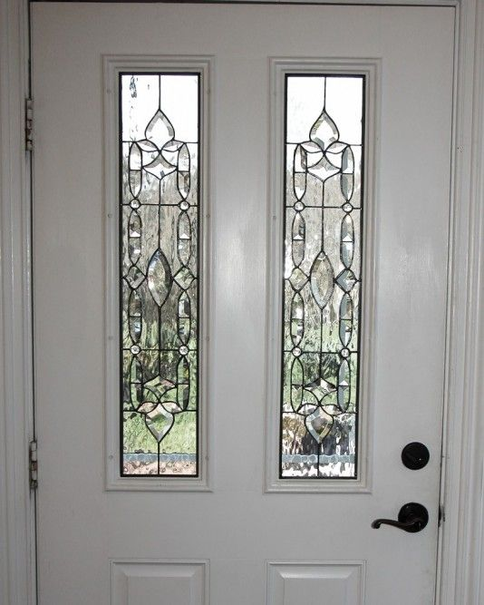 2 Light Door Panel With Tulip Bevels At Top And Bottom Connected With More Bevels And Center Oval W Leaded Glass Stained Glass Window Panel Beveled Glass Doors