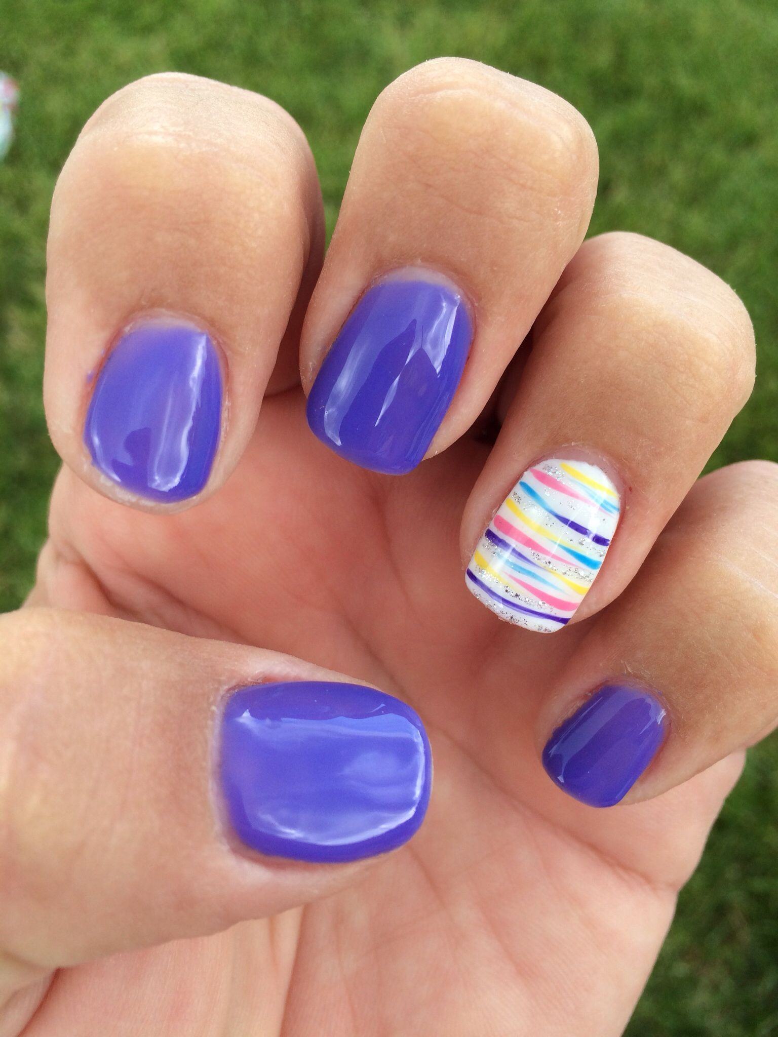 Purple striped summer gel nails … | Purple N…