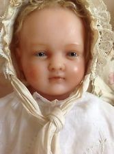 OUTSTANDING & BEAUTIFUL large Portrait doll, antique English poured wax baby