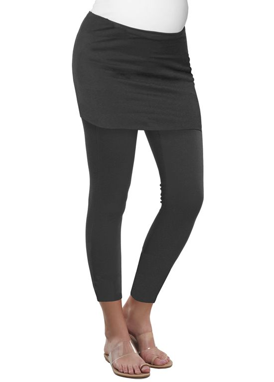 fc7571dc5b027 Queen Bee Urban Skirted Maternity Legging in Charcoal by Maternal America