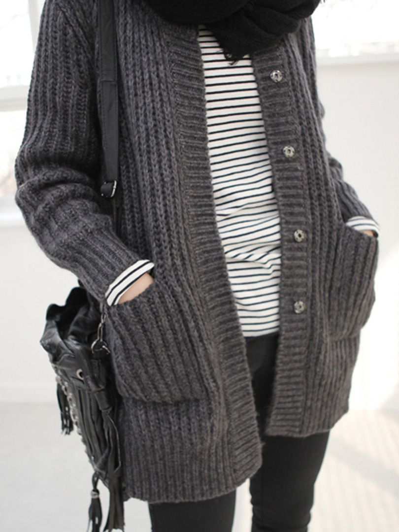 Gray Button-up Cardigan With Crew Neck | Choies | STYLE ...