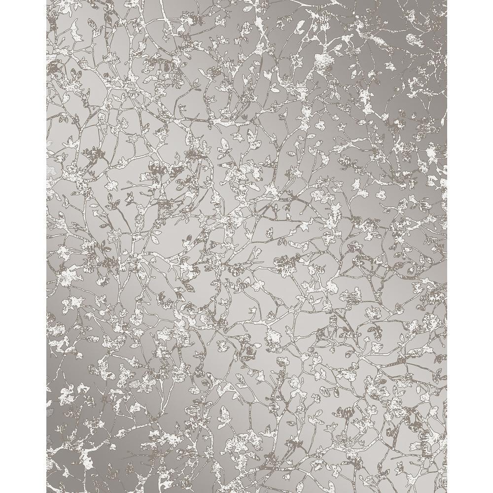 Decor DECORLINE Palatine Grey Leaves Wallpaper Sample in