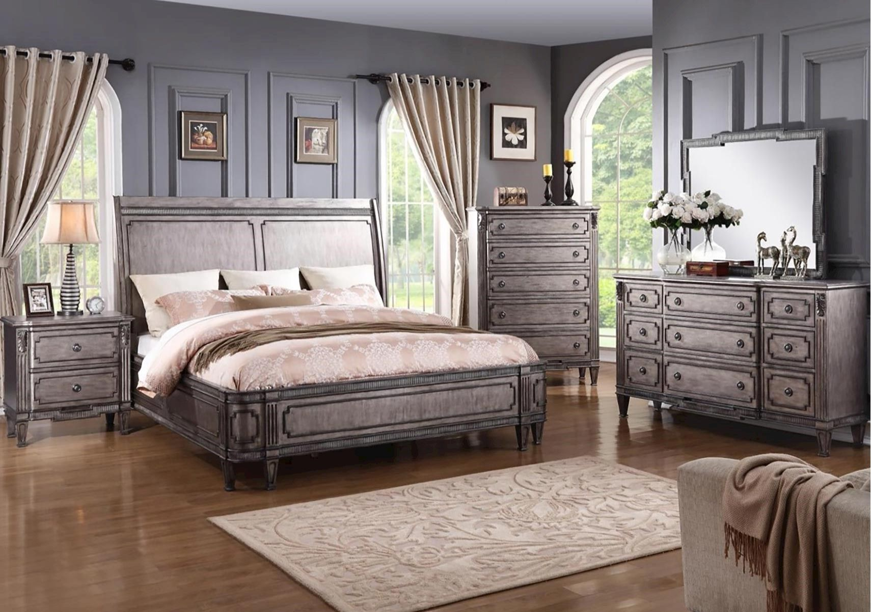 Lacks   Monteria 4-Pc Queen Bedroom Set   Glamorous Living ...