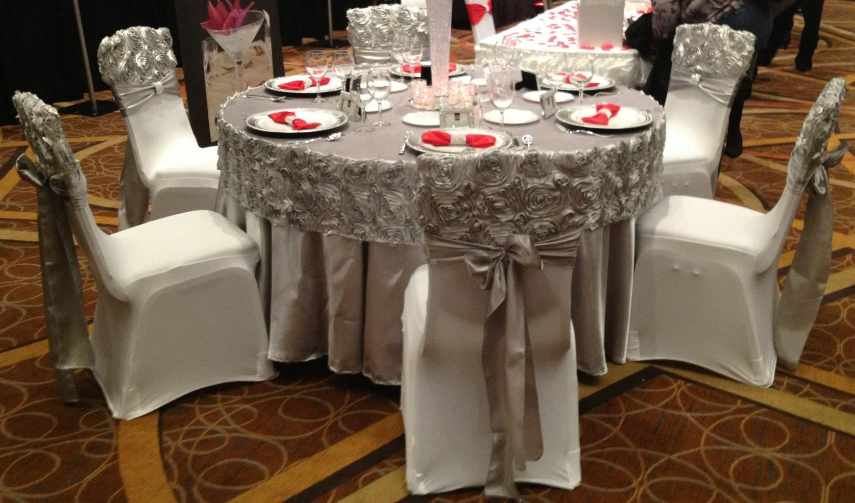 Couture Chair Covers And Events Tabouret Stacking Chairs Rosette Caps Banquet Chiavari