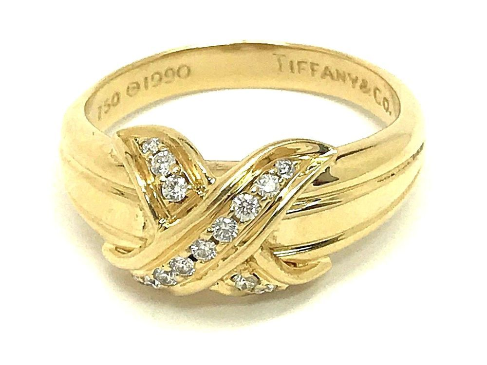 7966a0f62ca92 Tiffany & Co. 18k Yellow Gold Diamond Signature X Kiss Ring Vintage ...