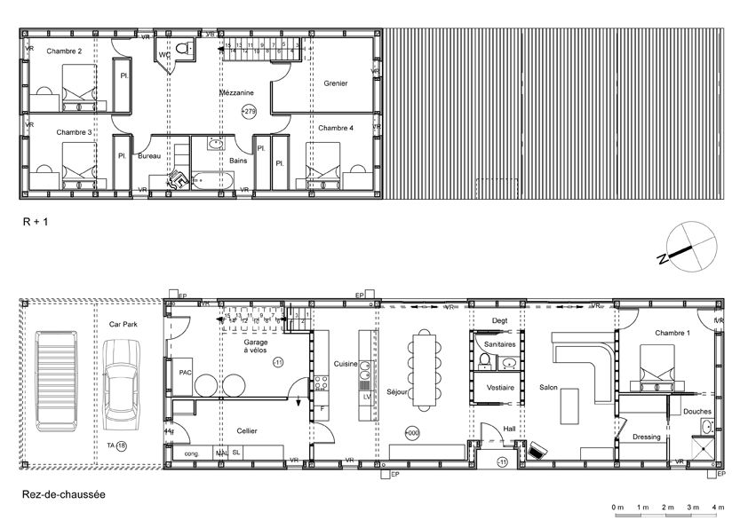plan maison tout en longueur