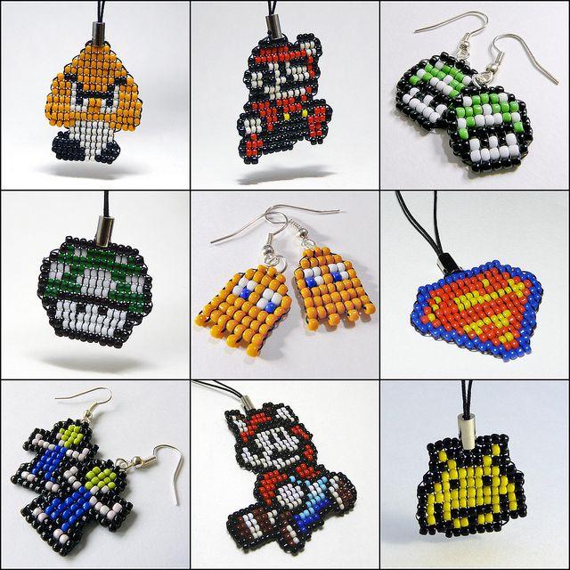 Pixel art beaded stuff.  I love pixel art, I love video games, I love beads -- perfect combo.
