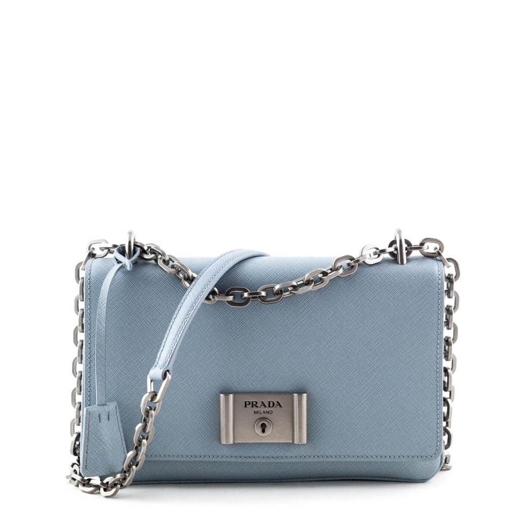 Prada Light Blue Saffiano Lux Chain Shoulder Bag Luxury Bags Canada Bags Chain Shoulder Bag Shoulder Bag