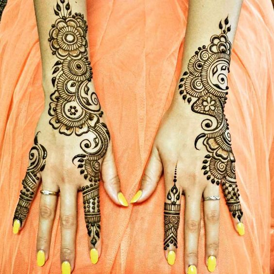 Mehndi Designs For Nails : Exclusive arabic mehndi design with yellow nail polish