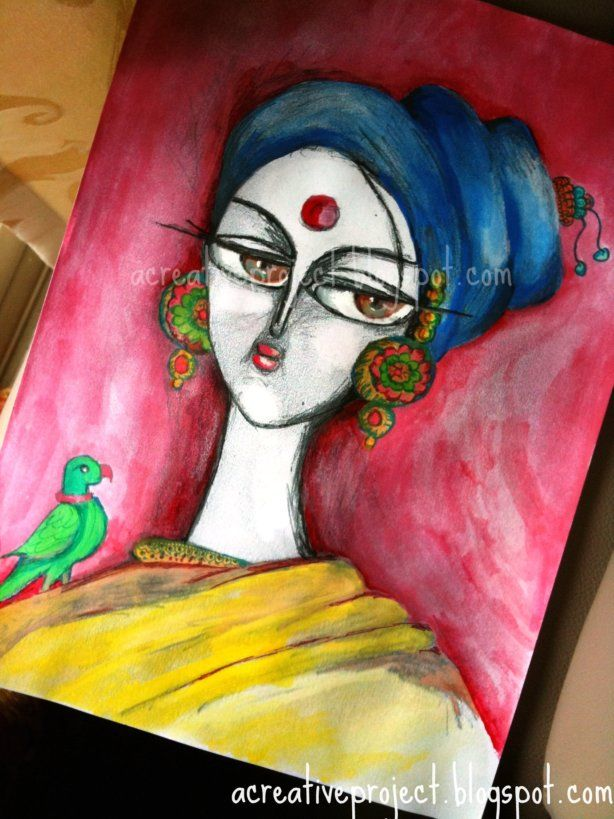 Beautiful A Creative Project New Painting Lady With Parrot