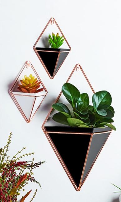 Large Wall Hanging Green Plants Planter Box Pot Flower Holder Ornament Geometric