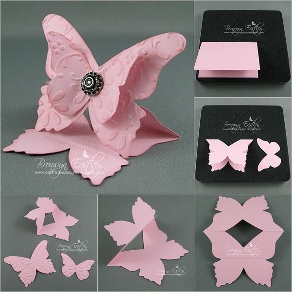 Amazing 3d Card Making Ideas Part - 5: DIY 3D Butterfly-Shaped Greeting Card - Http://www.dollarstorecrafts.