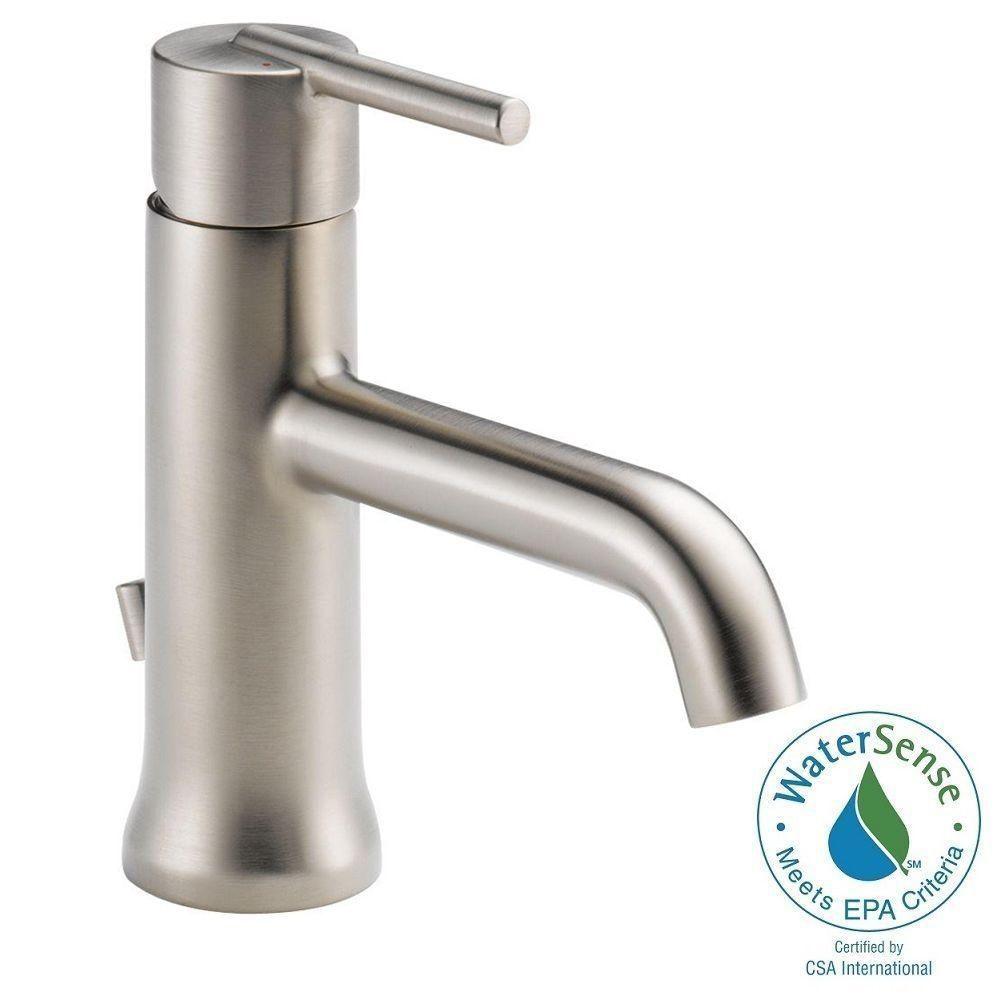 Delta Trinsic Single Hole Single-Handle Bathroom Faucet with Metal ...