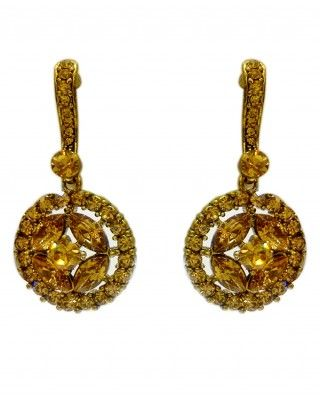 $23 Make your look alluring with this brown and golden earrings. This beautiful earrings made up of Chrome Yellow stones. This elegant piece is available in free size and can be worn easily.    Length 2.5 , Width 5