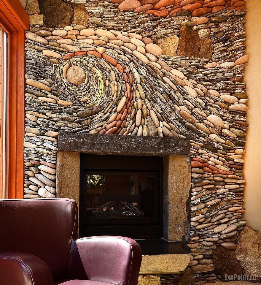 River rocks fireplace wall art | River rock fireplaces ...
