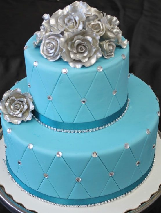 Turquoise And Silver Wedding Cakes Turquoise Silver