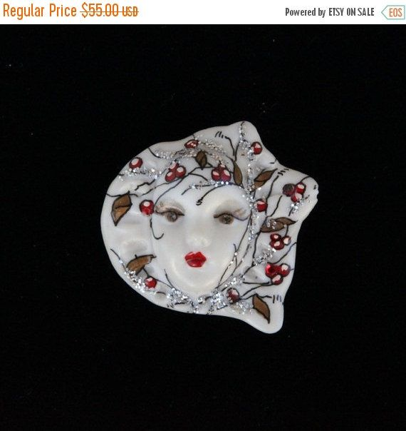 ON SALE Signed Adagio face brooch by VintageJewelryMagic on Etsy