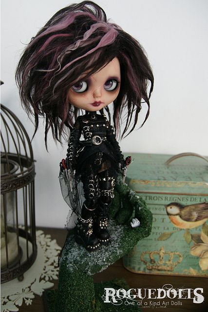 DOLL FOR ADOPTION // 108. Edward Scissorhands custom blythe art doll (ooak blythe) for adoption, by Roguedolls www.theroguedolls.com