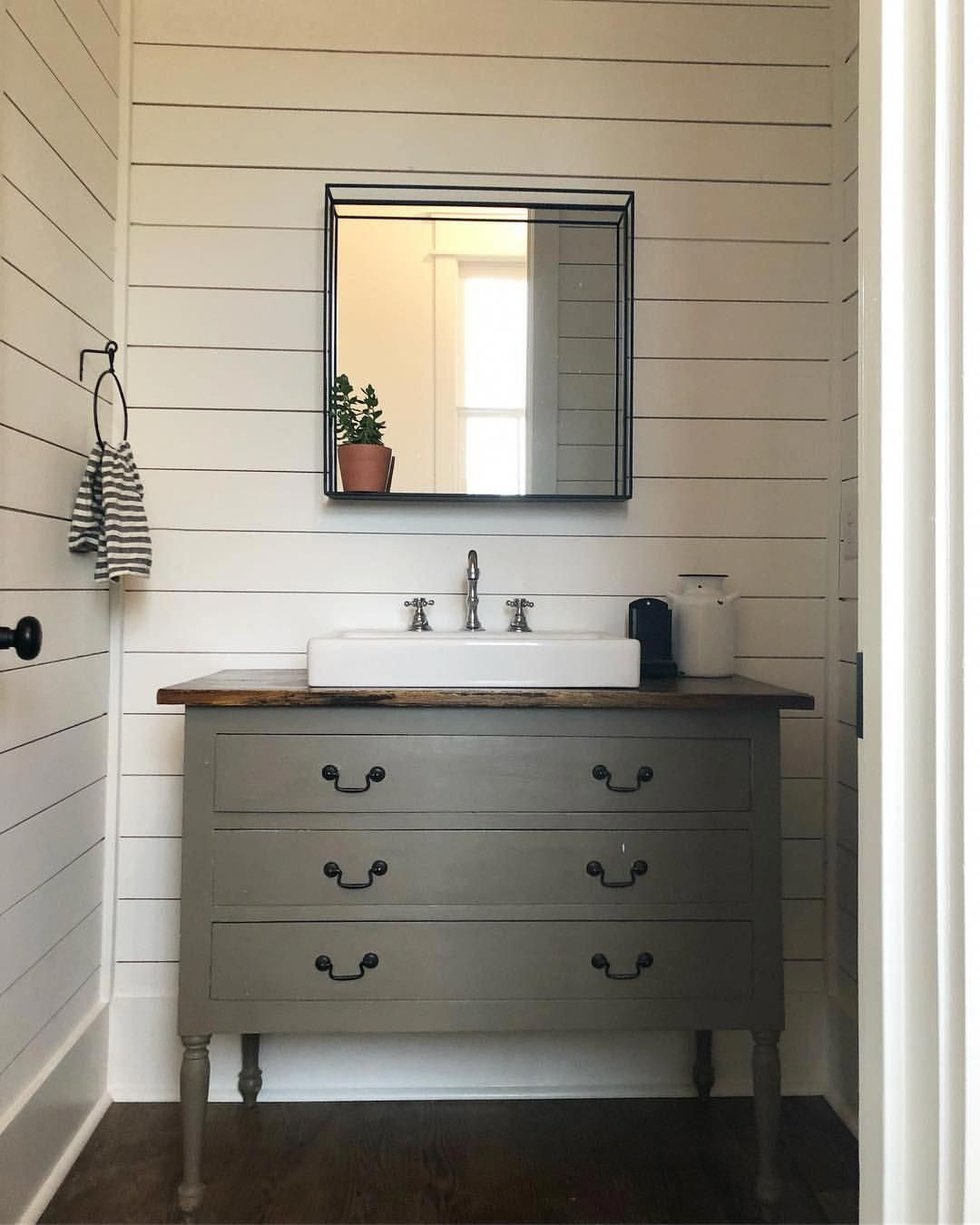 antique dresser with vessel sink shiplap bathroom walls on vanity for bathroom id=76410