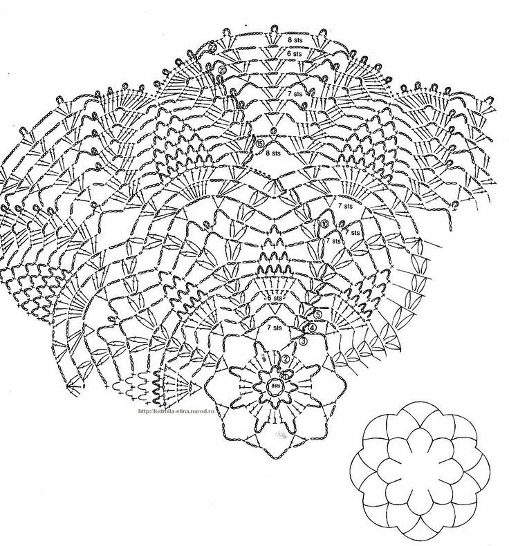 Crochet Doily Diagrams Crochet Doily Symbol Diagram Pineapple