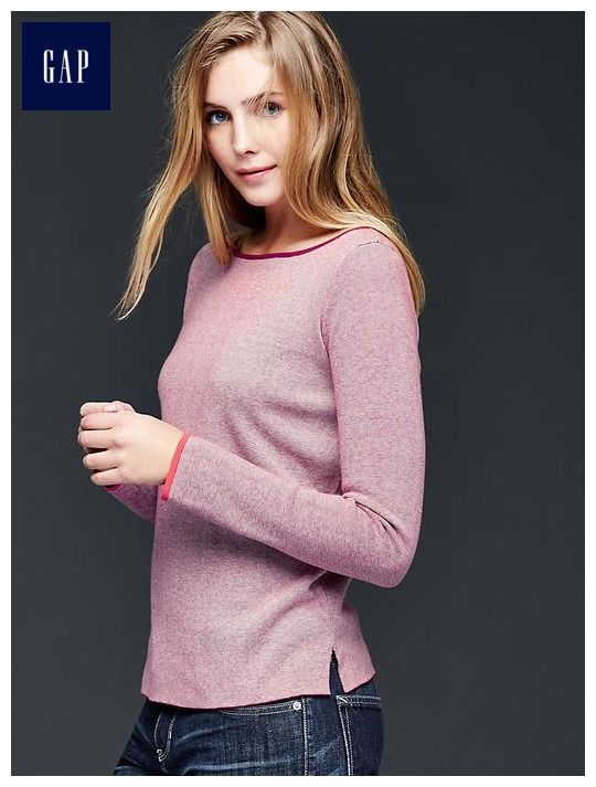 Boatneck trim pullover sweater