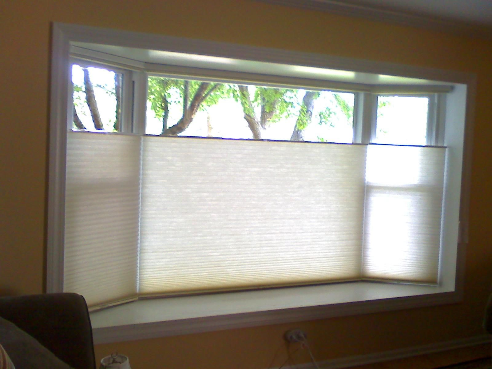 Top down bottom up cordless cellular shades bay bow for Simple window treatments for large windows