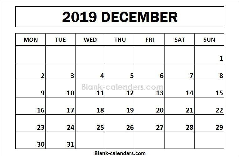 December 2019 Monday Calendar Printable December 2019 Calendar Monday Start | 2019 Calendar