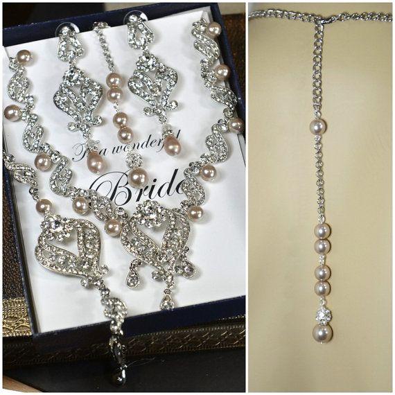 Bridal back necklaceChampagne bridal by thefabbridaljewelry