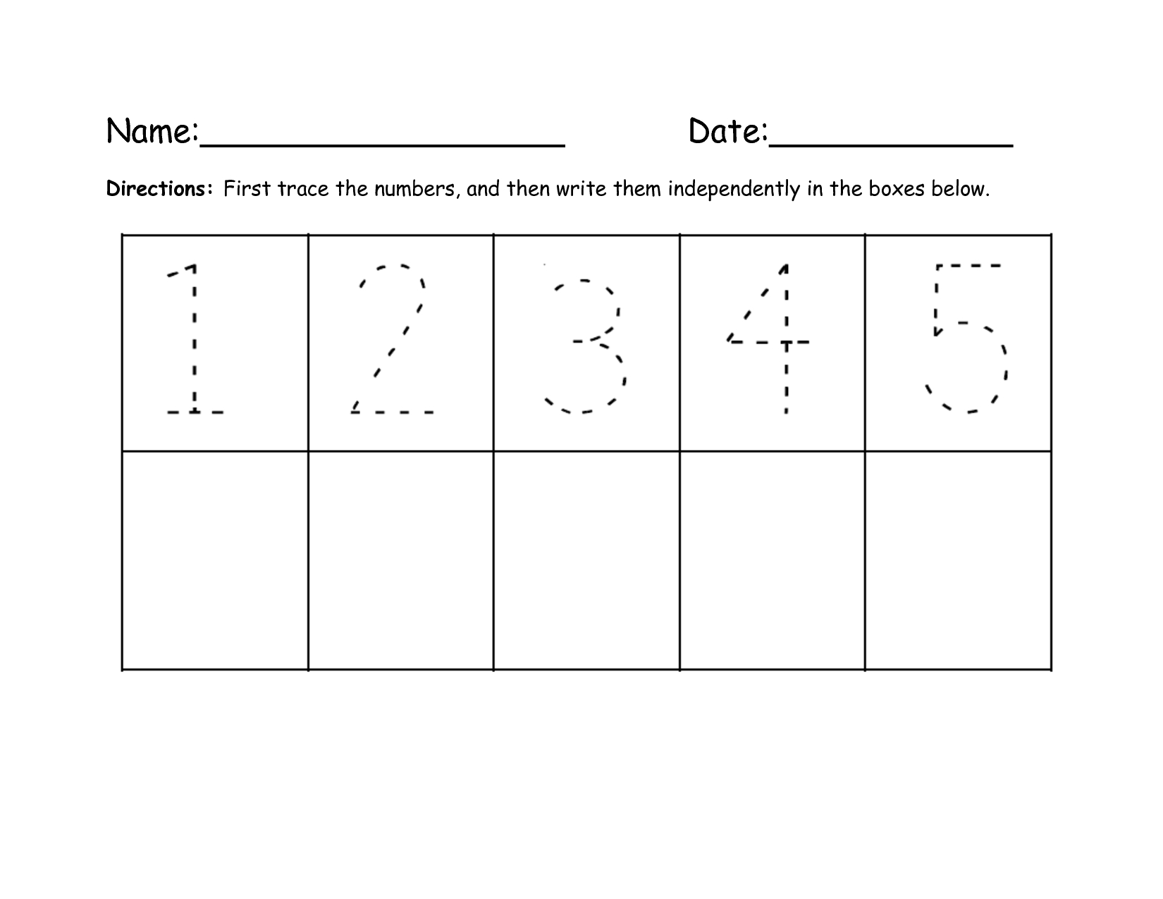 Tracing Numbers 1 Through 10