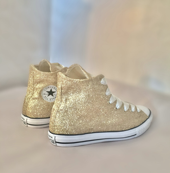15 OFF with code  PINNED15 Sparkly Glitter Converse All Stars Champagne  Gold High Top Wedding Bride Prom Sneakers Shoes - Glitter Shoe Co a989926bae