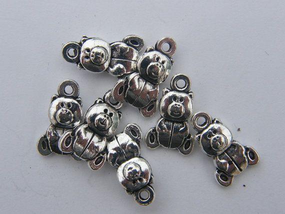 BULK 50 Teddy bear charms antique silver tone A185