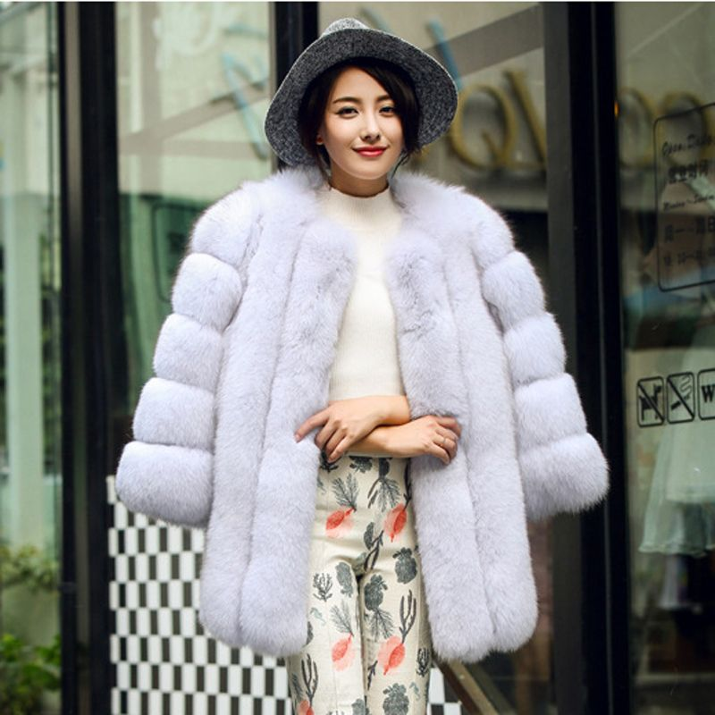 S-4XL High Quality Winter Warm Faux Fox Fur Coat Luxury Long Pink ...