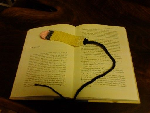 Crocheted pencil bookmark