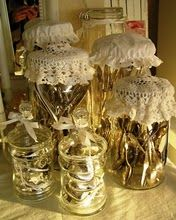 Crochet lace jar toppers