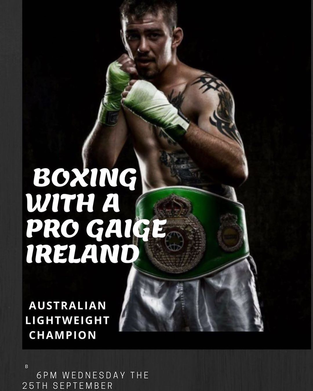 🏅Gaige Ireland 🏅 Australian Lightweight Champion . . . 🥊Wednesday the 25/09/2019 6:00pm . . #Boxing...
