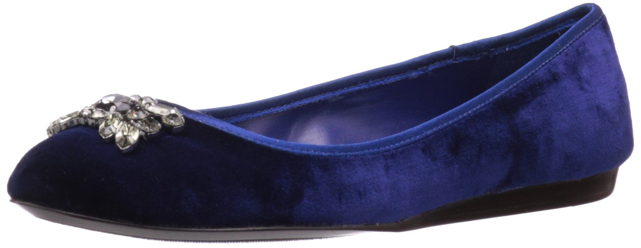 """Lauren Ralph Lauren Women's Adelisa Flat,Dark Sapphire,8 B US. Round closed toe slip-on ballet flat. Velvet upper with rhinestone detail on vamp. Slip-on construction with leather top-line. Leather lining; lightly padded footbed. Approx. 1/2"""" wedge heel; rubber outsole."""