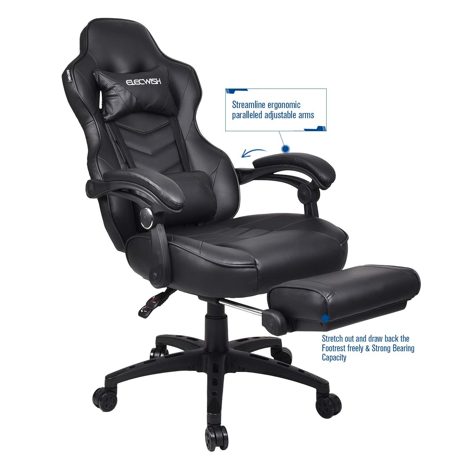Ergonomic Computer Gaming Chair Large Size PU Leather High