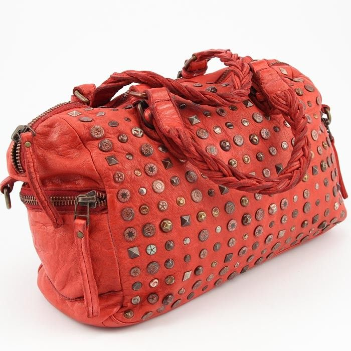 Italienische Echt Leder Handtasche Ledertasche Used Look