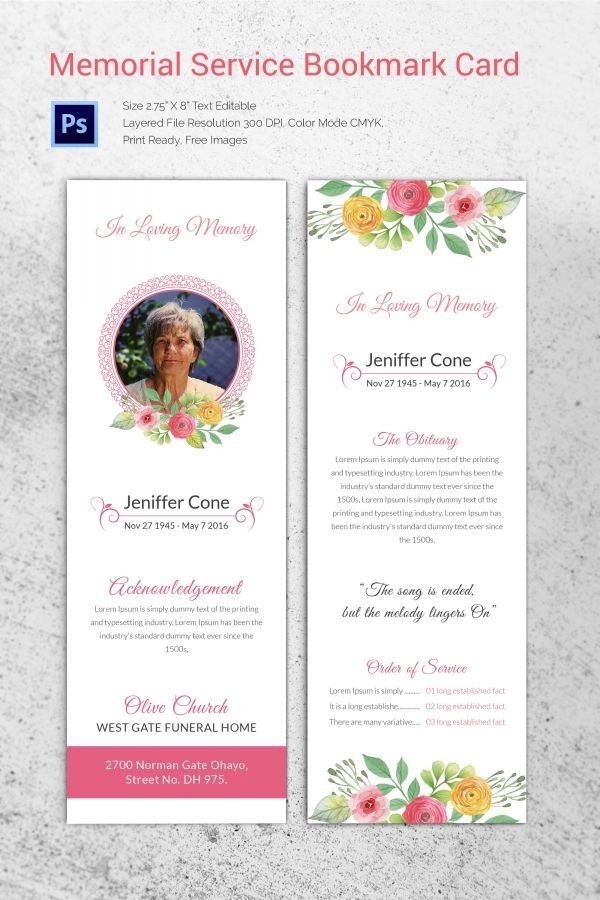 Memorial Service Bookmark Card Funeral Program Template
