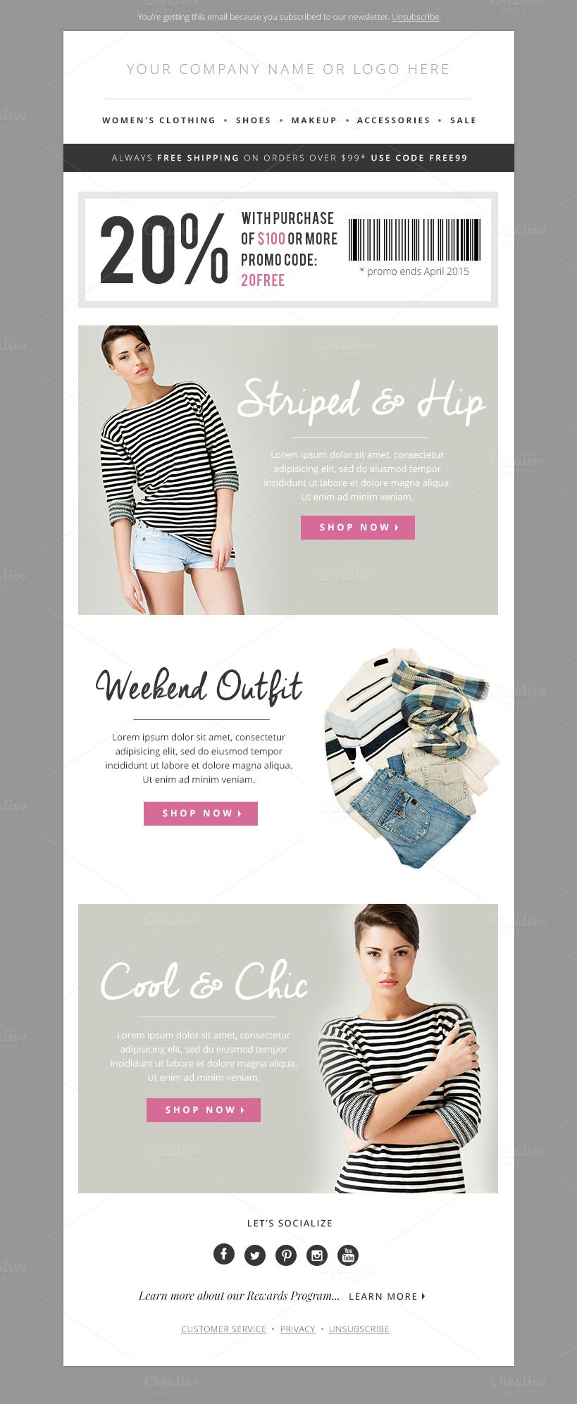 Sales Fashion EMail Template Psd By Jannalynncreative On Creative