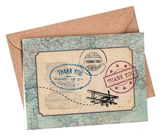 Thank You Cards Set Of 10 Travel Card Boarding P
