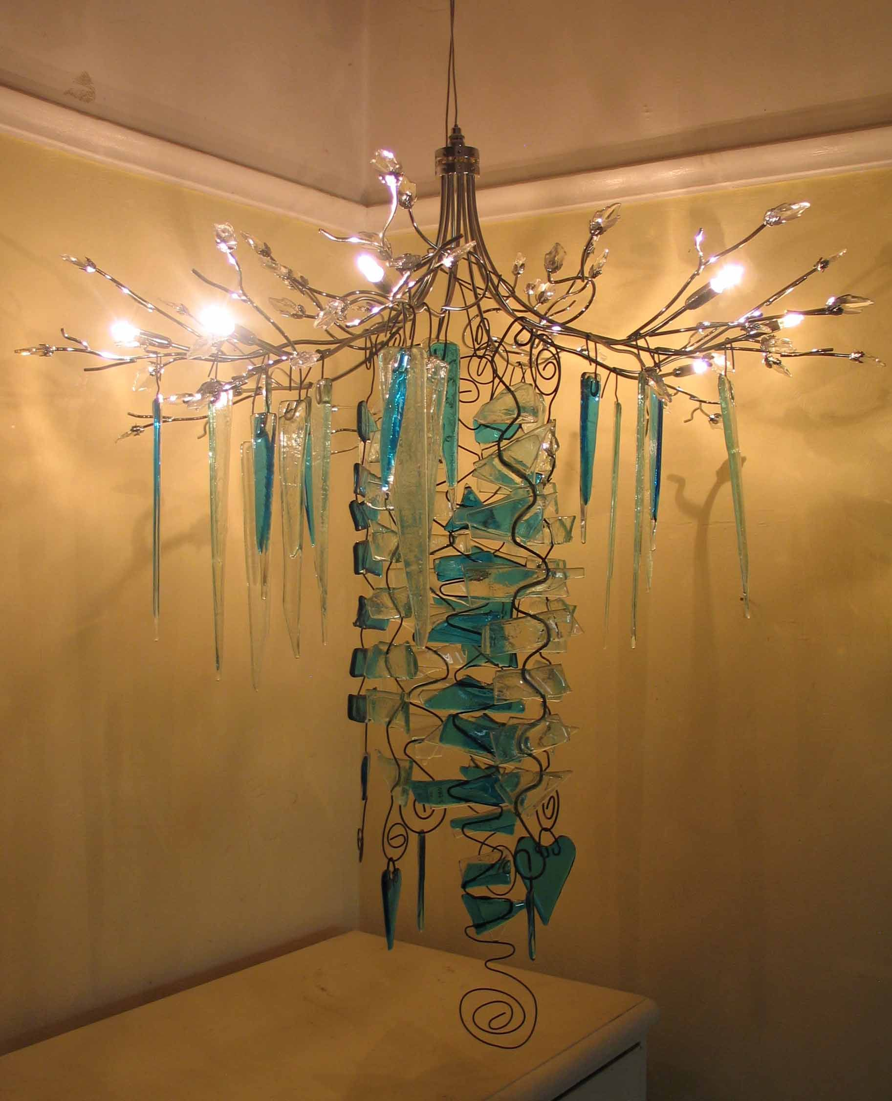beautiful large fused glass chandelier made by Fran McCaskill