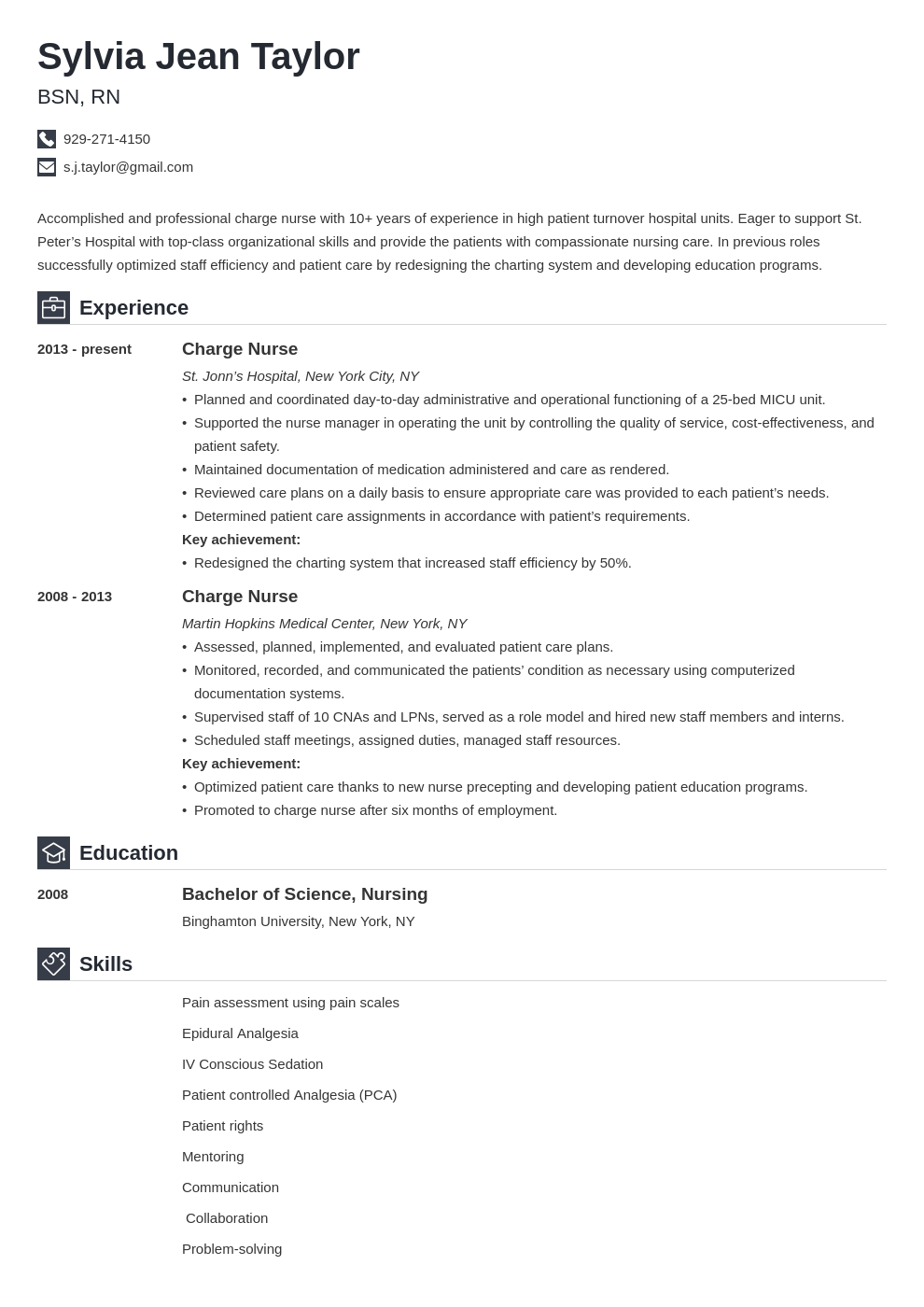 Charge Nurse Resume Example Template Iconic Nursing Resume Resume Examples Charge Nurse