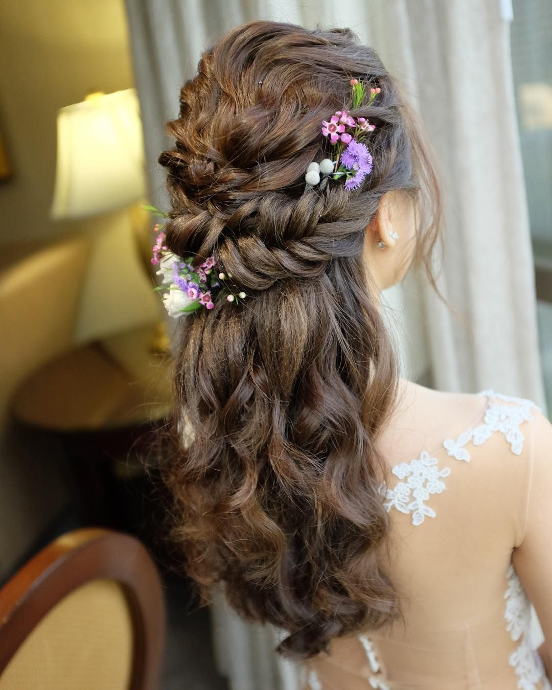 Fishtail Braid Wedding Hairstyles: Fishtail Braid Half Up Half Down Hairstyle For Eileen On