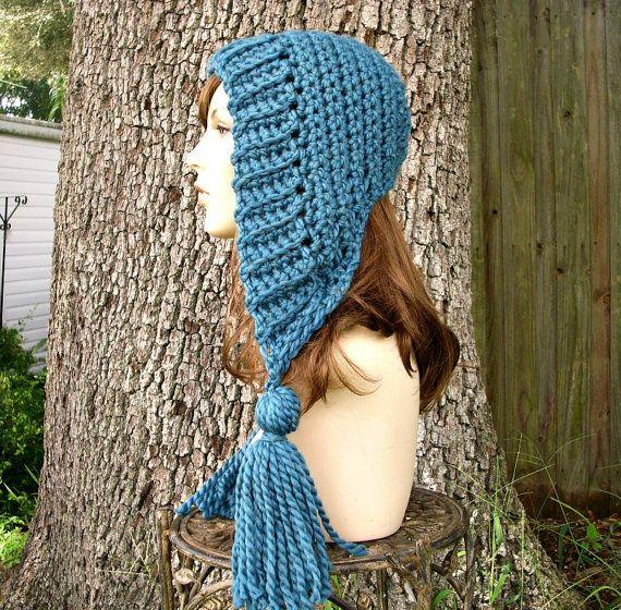Petrol / blau Womens Hut häkeln Hood Quaste Hut blau Ohr   Häkeln ...