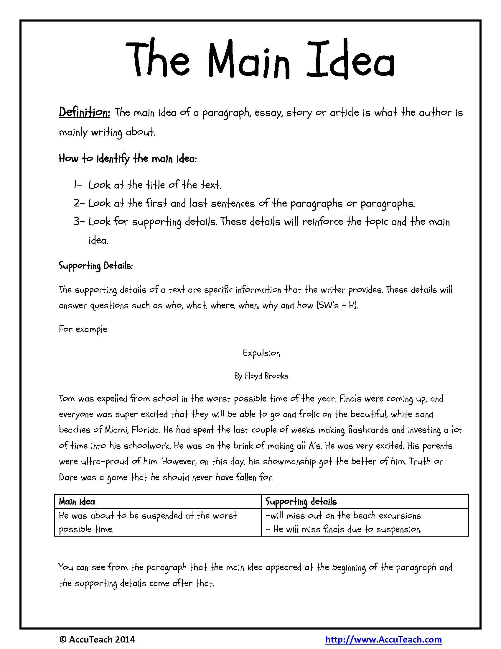 One Pager Reading Comprehension Strategy Main Idea