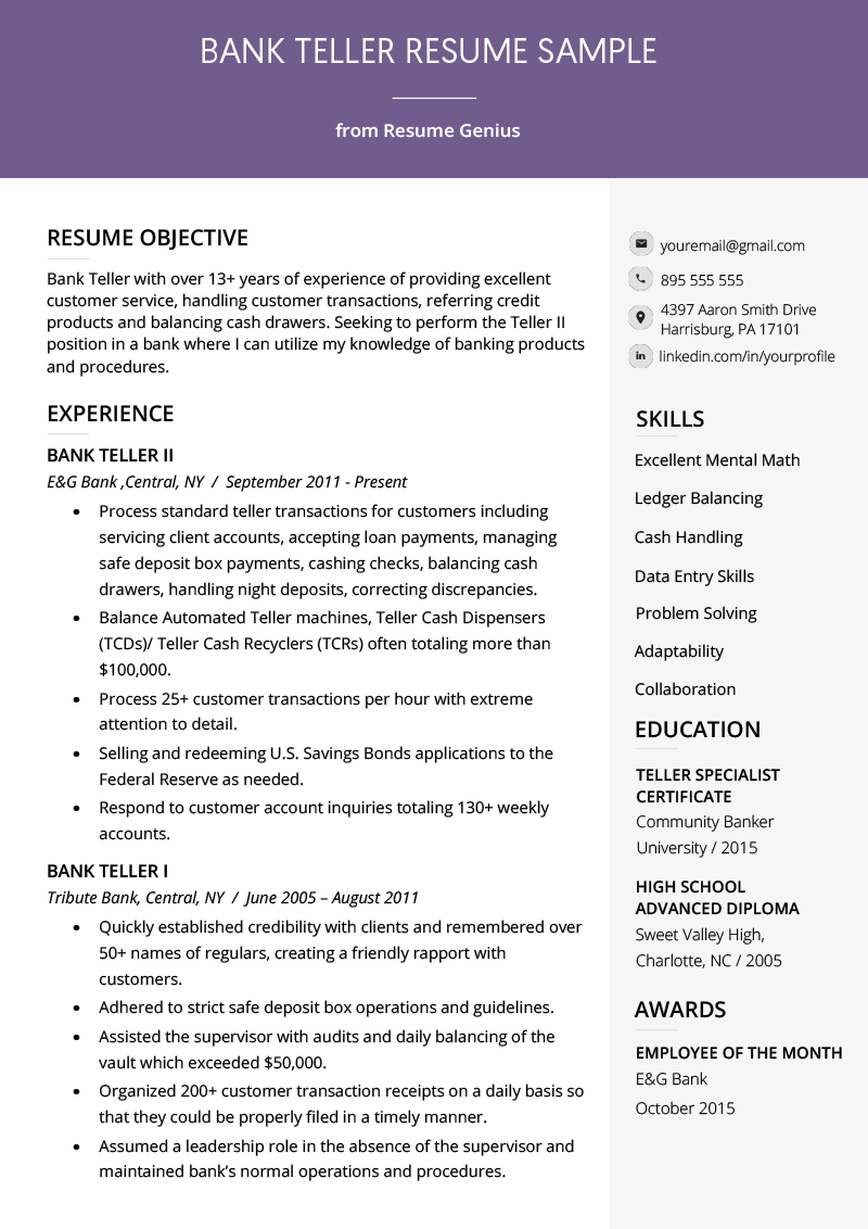 Bank Teller Resume Sample & Writing Tips Resume Genius