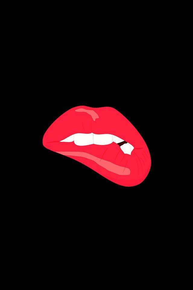 Biting Lips Black Background Minimal Iphone Wallpaper Lip